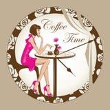 Menina do tempo do café Fotos de Stock Royalty Free