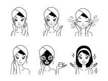 Menina do tratamento da máscara da ilustração do desenho do ícone ilustração stock