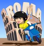 Menina do 'trotinette' de Roma ilustração do vetor