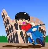 Menina do 'trotinette' de Roma ilustração royalty free