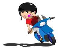 Menina do 'trotinette' que usa o telefone ilustração stock