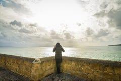 Menina do turista em Nápoles Fotografia de Stock