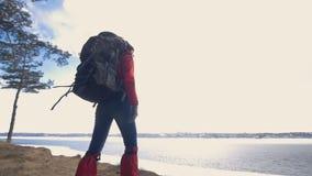 A menina do turista no banco do lago video estoque