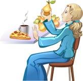 Menina do vegetariano Comer saudável do alimento Imagens de Stock