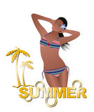 Menina do verão com biquini ilustração stock
