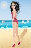 Menina do verão na praia Imagens de Stock Royalty Free
