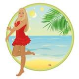 Menina do verão no vestido vermelho Fotos de Stock Royalty Free