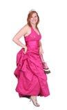 Menina do vestido da cor-de-rosa quente Imagens de Stock