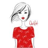 Menina do vetor da forma Mulher bonita Modelo bonito e novo com ilustração stock