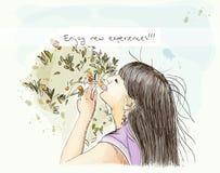 Menina do vetor que aprecia a natureza. eps10 Ilustração Royalty Free