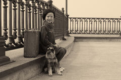 Menina do vintage no sepia Fotos de Stock