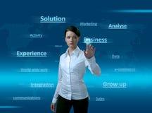 Menina do Web 2.0. Nuvem das palavras, pressionando o NEGÓCIO. Fotografia de Stock