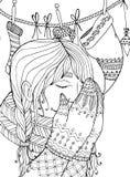 Menina do zentangl da ilustração do Natal do vetor no lenço Desenho da garatuja ilustração stock