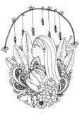 Menina do zentangl da ilustração do vetor com abóbora Desenho da garatuja o preto Fotografia de Stock