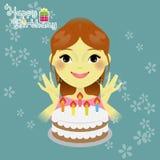 Menina doce com bolo de aniversário Imagens de Stock