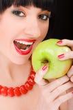 Menina doce com maçã Imagens de Stock
