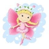 Menina doce da borboleta em um vestido cor-de-rosa Imagem de Stock