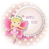 Menina doce da borboleta em um vestido cor-de-rosa Imagem de Stock Royalty Free