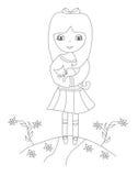 menina doce e seu gato ilustração stock