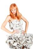 Menina doce em um vestido do jornal Imagens de Stock Royalty Free