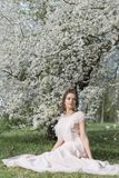 Menina doce macia bonita em um vestido cor-de-rosa com uma árvore de florescência próxima do penteado em um dia de mola ensolarad Imagem de Stock
