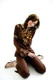 Menina doce no vestido étnico Fotografia de Stock Royalty Free