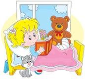 Menina doente com uma fratura ilustração do vetor