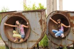 Menina dois nos círculos 2 Imagens de Stock Royalty Free