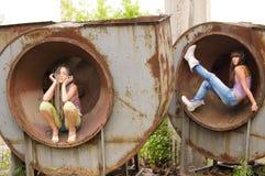 Menina dois nos círculos Foto de Stock Royalty Free