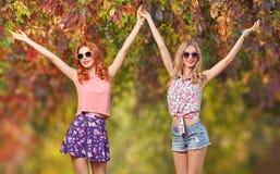 Menina dos amigos que tem o divertimento Forma da queda Parque ao ar livre Fotos de Stock