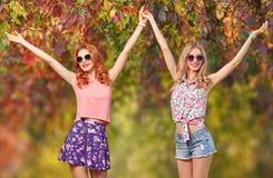 Menina dos amigos que tem o divertimento Forma da queda Parque ao ar livre Imagem de Stock Royalty Free