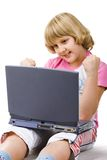 menina dos anos de idade 10 com caderno Imagens de Stock