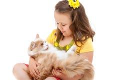 Menina dos anos de idade três que prende um gatinho. Foto de Stock