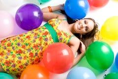 Menina dos balões imagens de stock royalty free