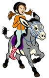 Menina dos desenhos animados com asno Imagens de Stock Royalty Free