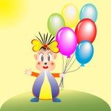 Menina dos desenhos animados com balões Fotografia de Stock Royalty Free