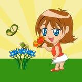 Menina dos desenhos animados com borboleta Imagens de Stock