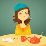 Menina dos desenhos animados com doença Imagens de Stock Royalty Free