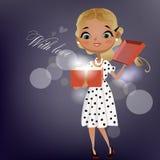Menina dos desenhos animados com hamburguer Imagens de Stock Royalty Free