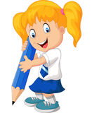 Menina dos desenhos animados com lápis Fotos de Stock Royalty Free