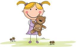 Menina dos desenhos animados com o bicho de pelúcia no campo Foto de Stock Royalty Free