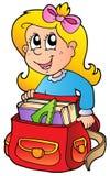 Menina dos desenhos animados com saco de escola Imagem de Stock Royalty Free