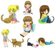 Menina dos desenhos animados com seu grupo da coleção do ícone do animal de estimação Imagens de Stock Royalty Free