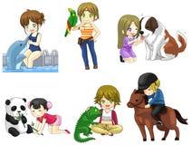 A menina dos desenhos animados com sua coleção do ícone do animal de estimação ajustou 2 Imagens de Stock Royalty Free