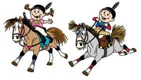 Menina dos desenhos animados e pôneis de montada do menino ilustração royalty free