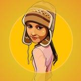 Menina dos desenhos animados em um chapéu feito malha morno Fotos de Stock