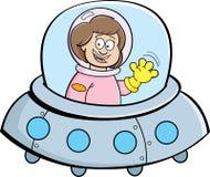 Menina dos desenhos animados em uma nave espacial Imagem de Stock Royalty Free
