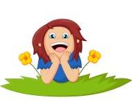 A menina dos desenhos animados encontra-se para baixo com flor Imagens de Stock Royalty Free