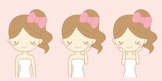 A menina dos desenhos animados importa-se sua cara Foto de Stock Royalty Free