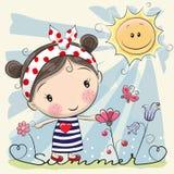 Menina dos desenhos animados no prado com flores ilustração royalty free